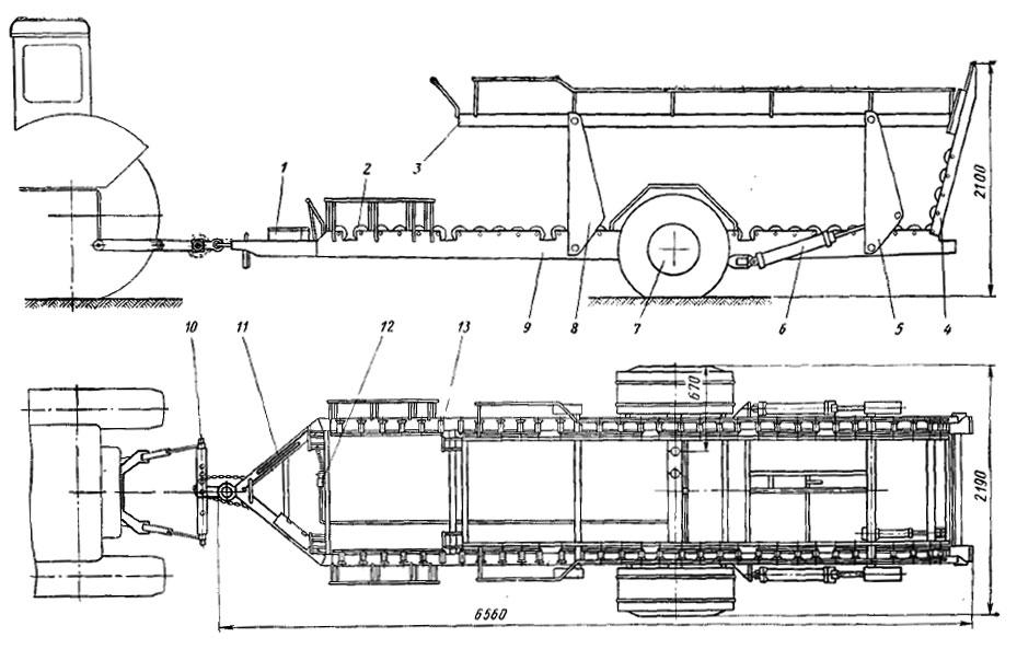 Схема прицепа-контейнеровоза